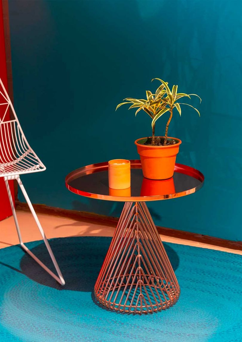 cooper side table with plants