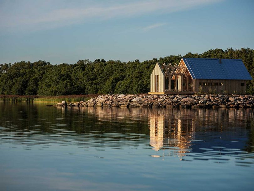 wood cabin on the water
