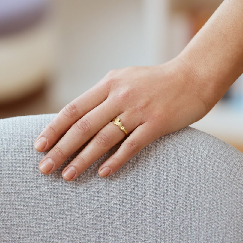 gold plated silver ring on hand