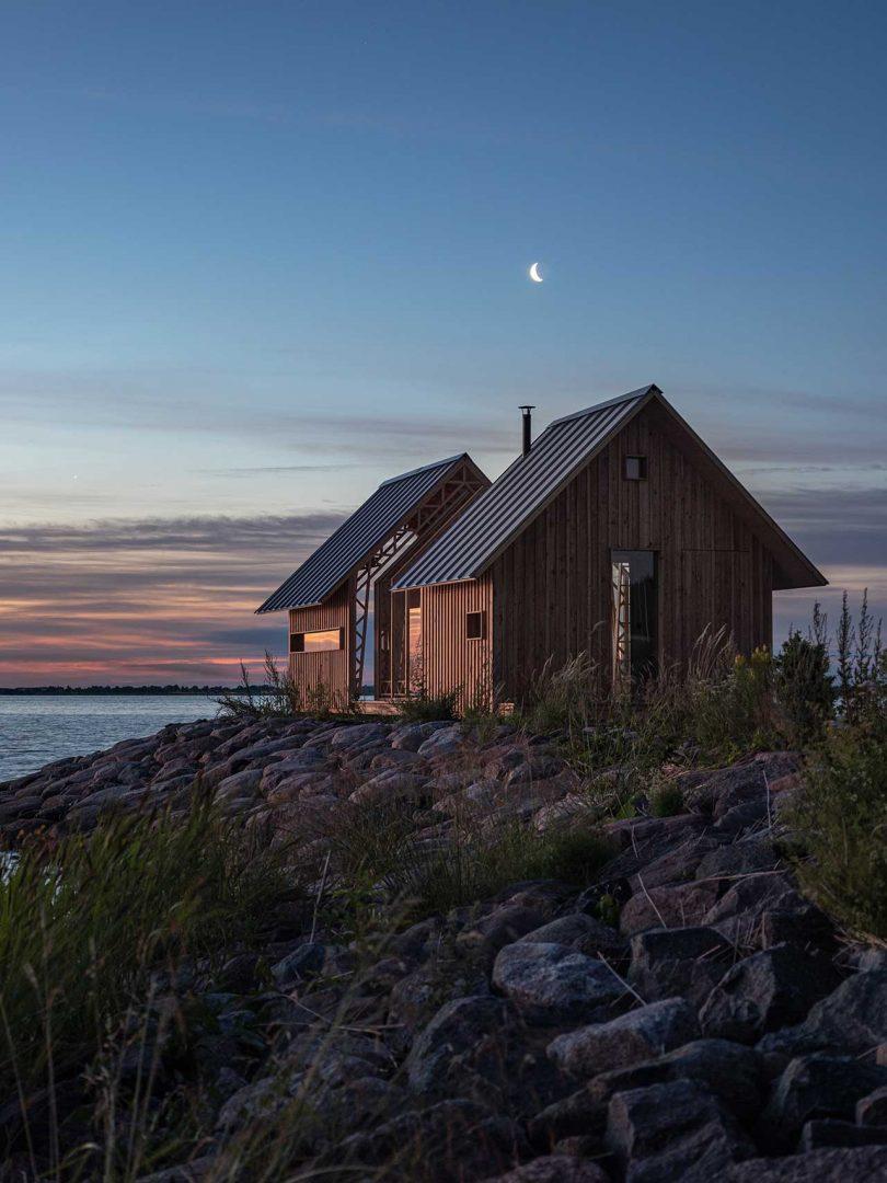wood cabin at twilight