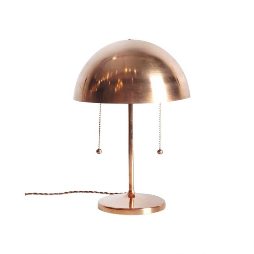 domed copper table lamp