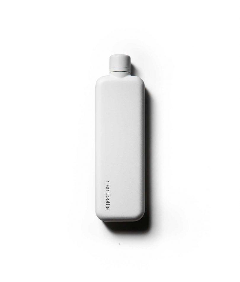 flat white water bottle on white background