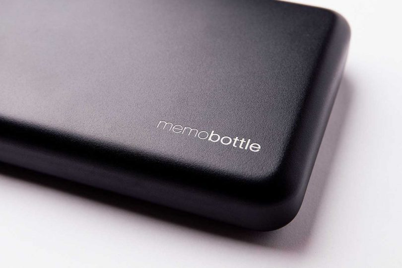 closeup of black memobottle