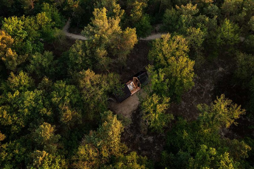 overhead view of cabin in the woods
