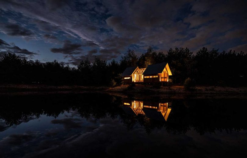 nighttime outside view of cabin