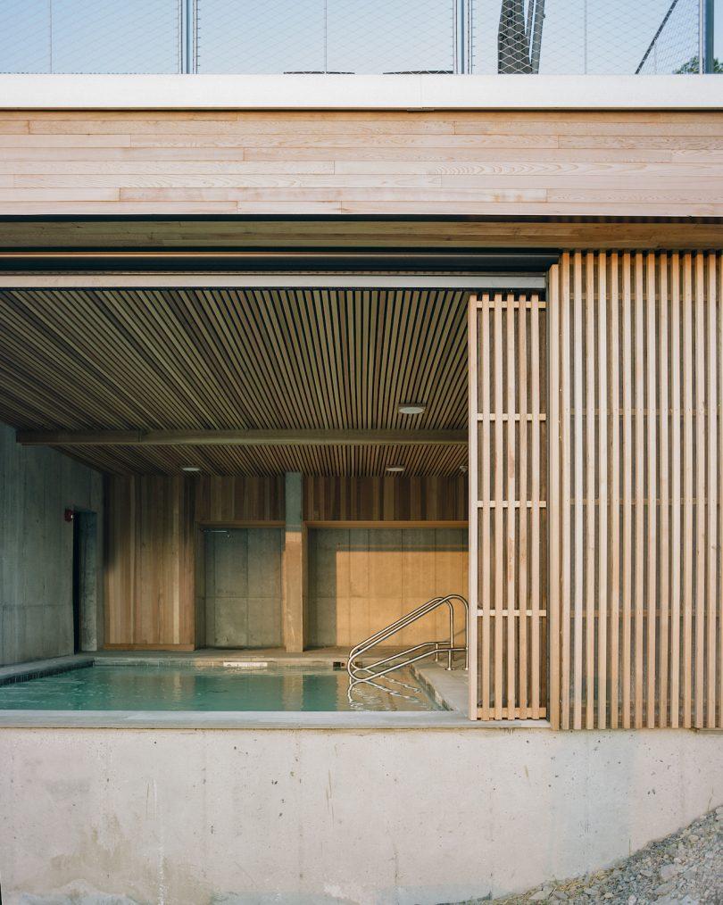 Exterior shot of Piaule's pool