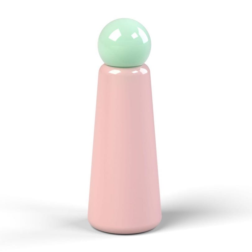 green and pink water bottle