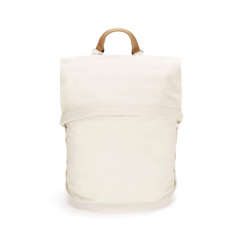 minimalist white backpack