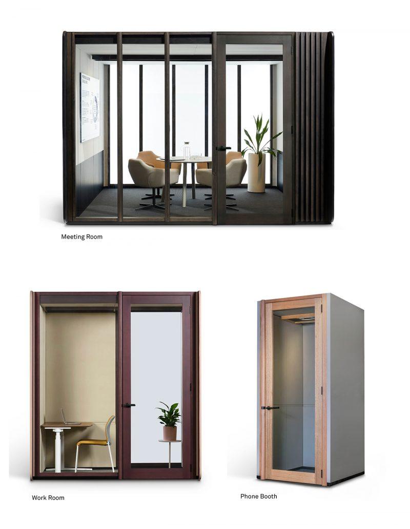 three sizes of modular workspaces cutout on white background