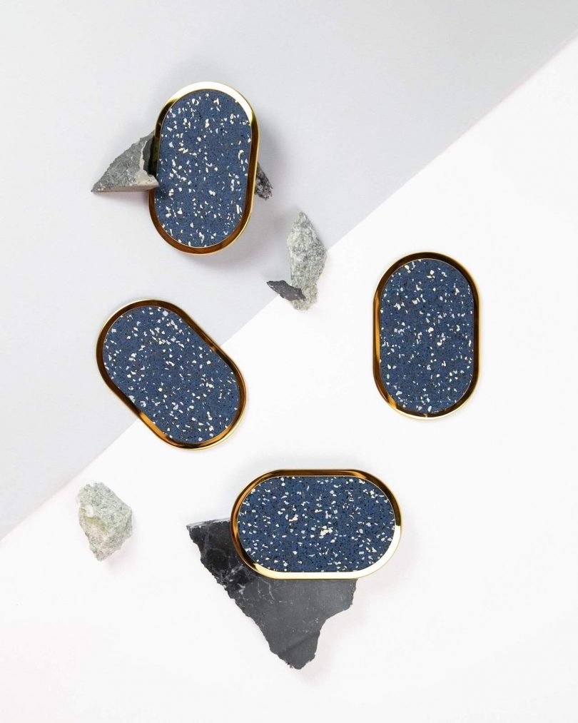 speckled blue coasters with gold edge
