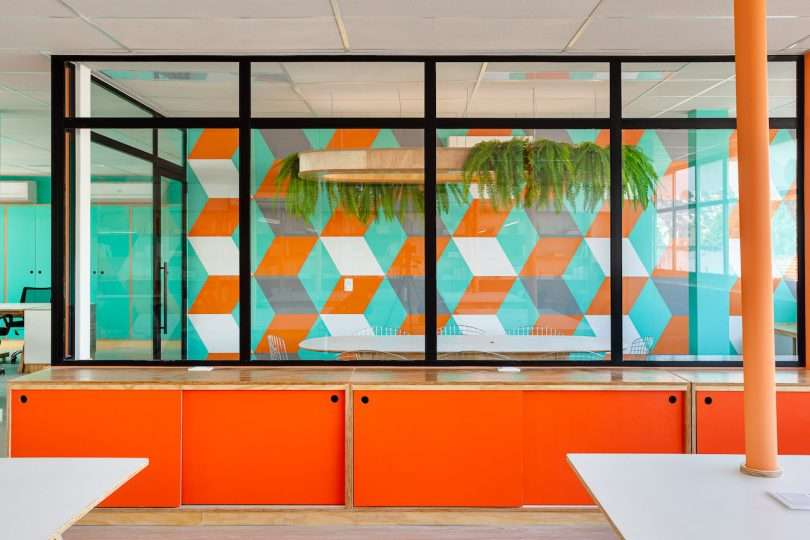 orange and green modern office