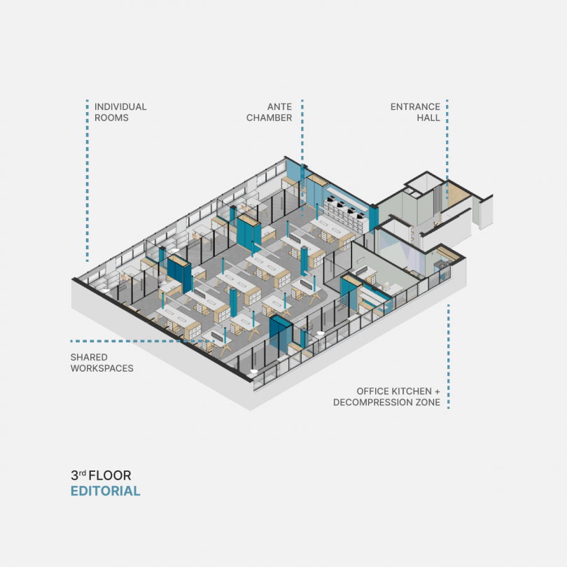 blue modern office layout