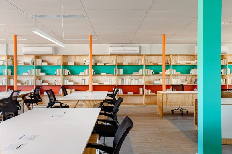 orange and turquoise modern office