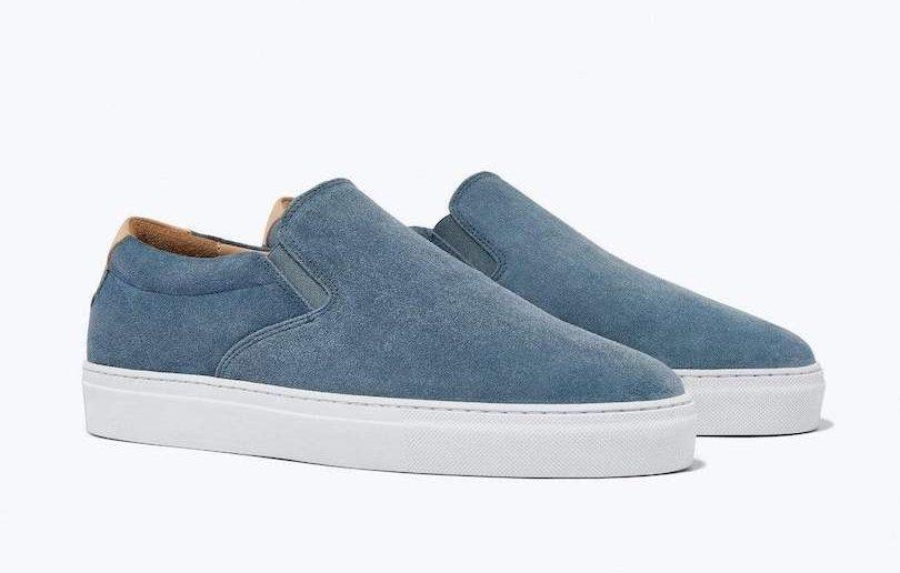 denim blue slip-on sneakers
