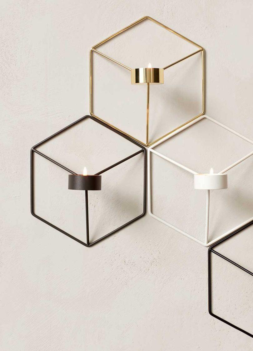 geometric tealight wall candle holder