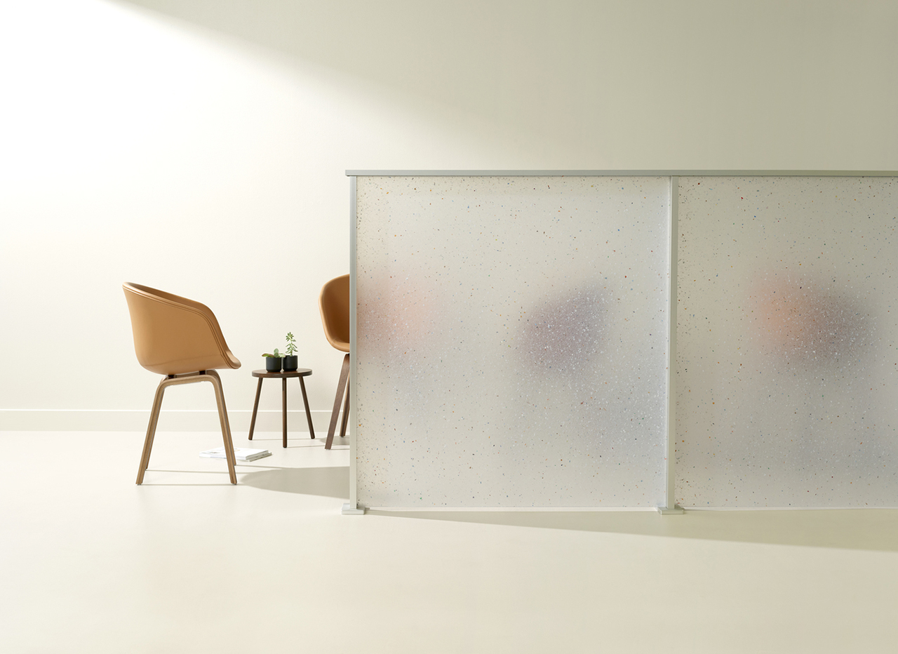 office setup with translucent white partition