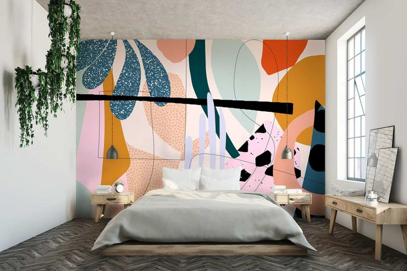 alex proba wallpaper with colorful abstract pattern in bedroom
