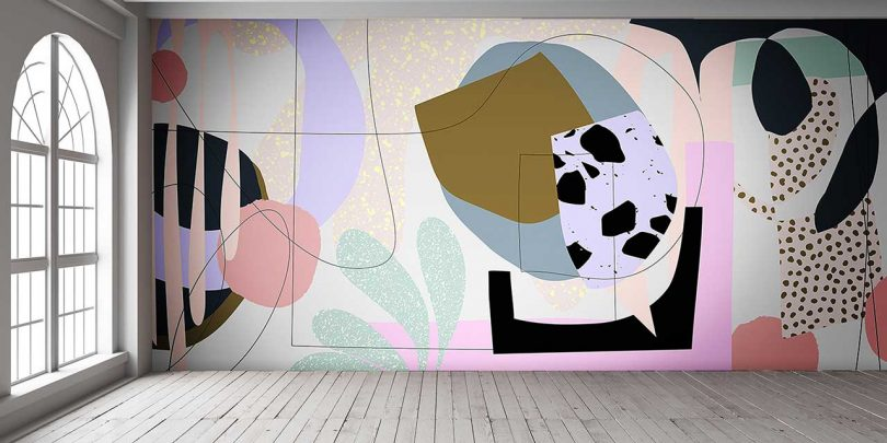 alex proba wallpaper with colorful abstract pattern in empty loft