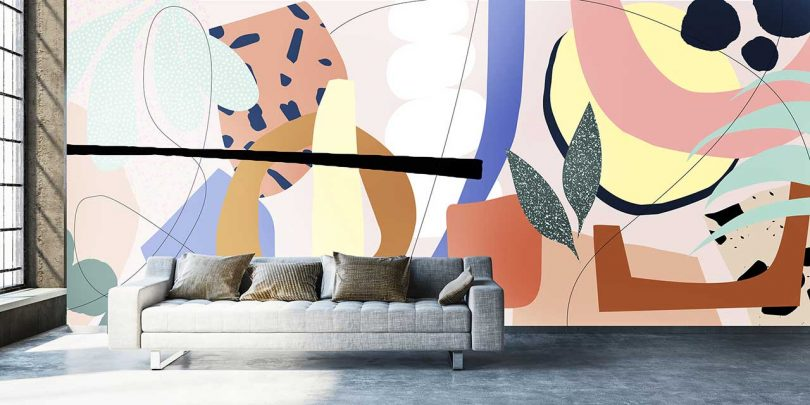 alex proba wallpaper with colorful abstract pattern in loft with sofa