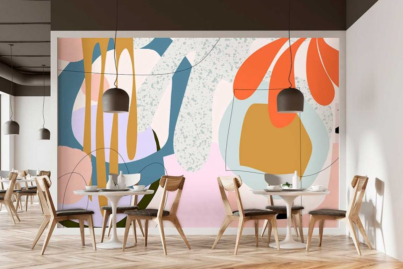 graphic wallpaper with colorful abstract pattern in restaurant