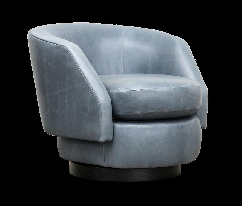 medium grey swivel armchair on white background