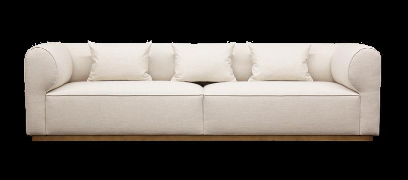 white sofa with rectangular pillows on white background