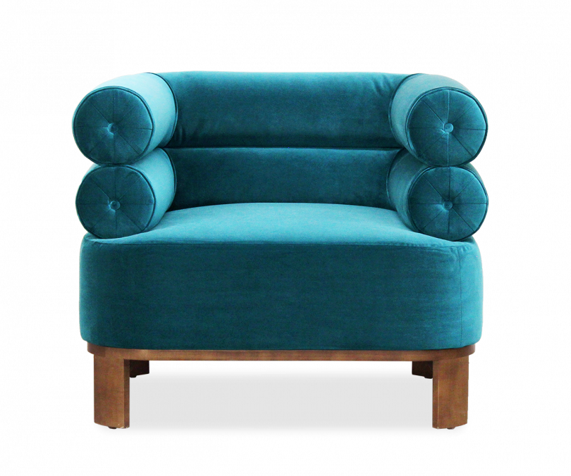 turquoise armchair on white background