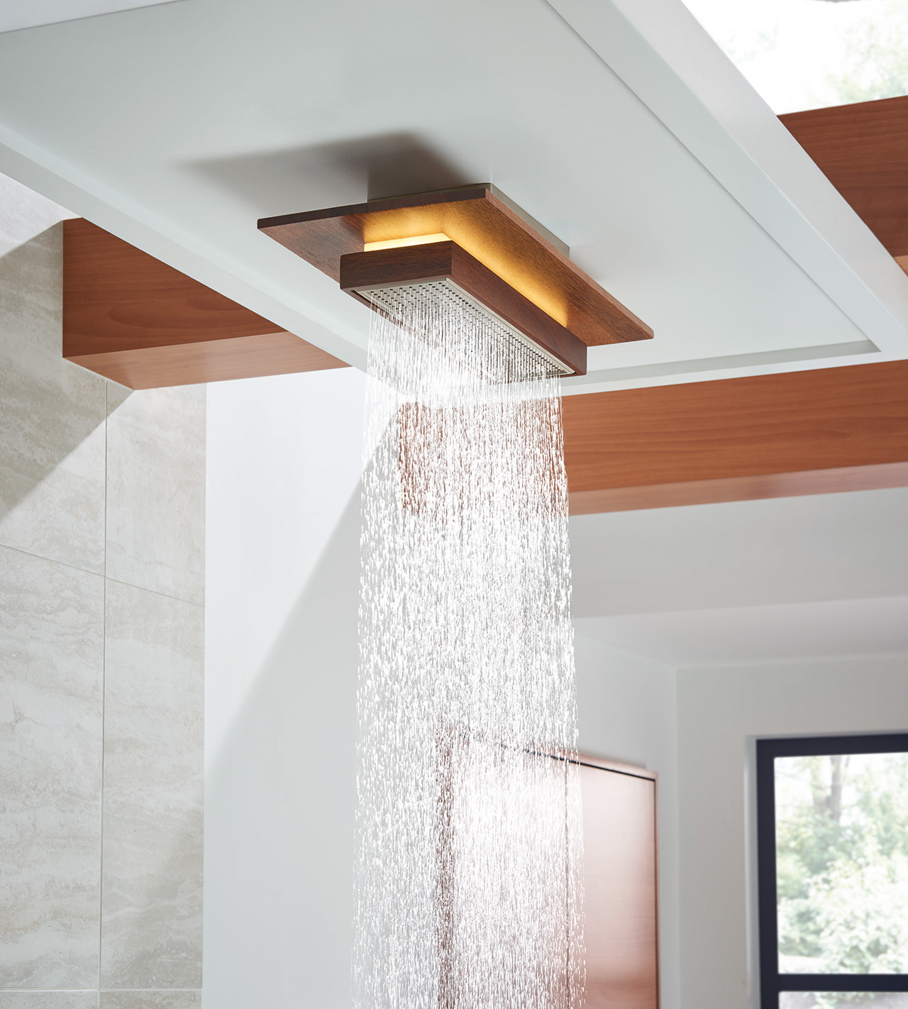 rectangular showerhead with light and water turned on