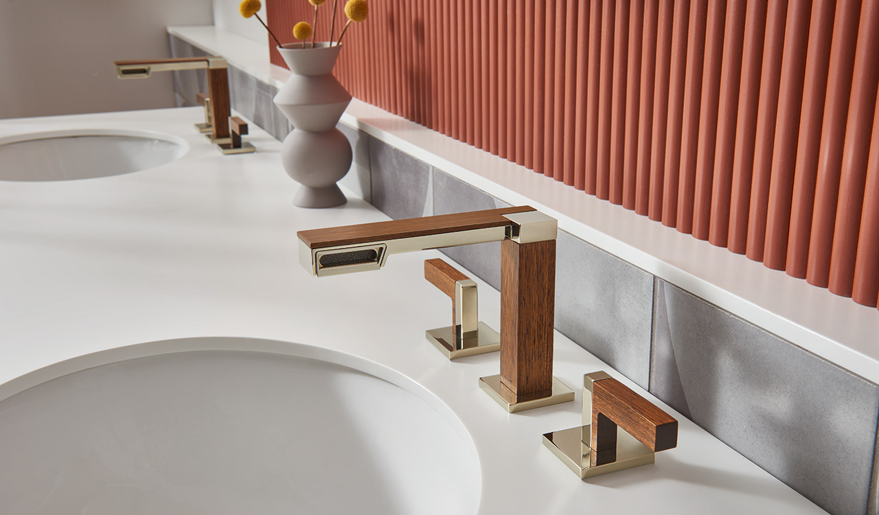 double vanity bathroom sink with wood and metal sink faucets