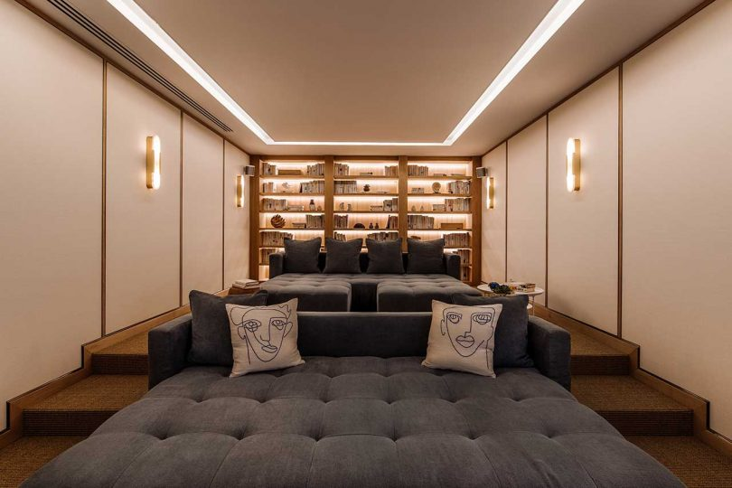 moder theater room with two sofas