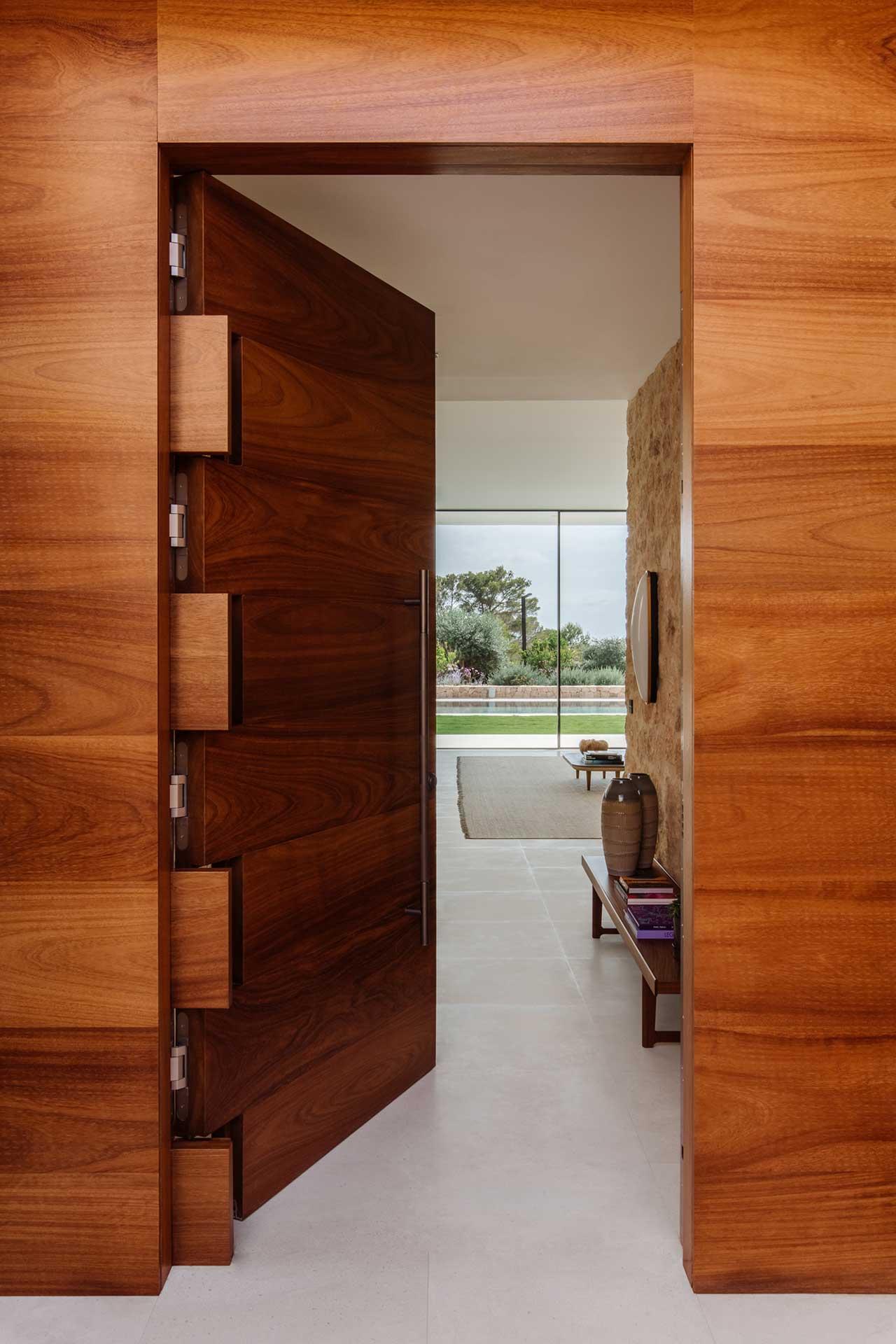wooden front door opened into house