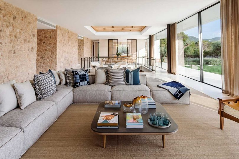 interior of modern home of living space looking out to backyard