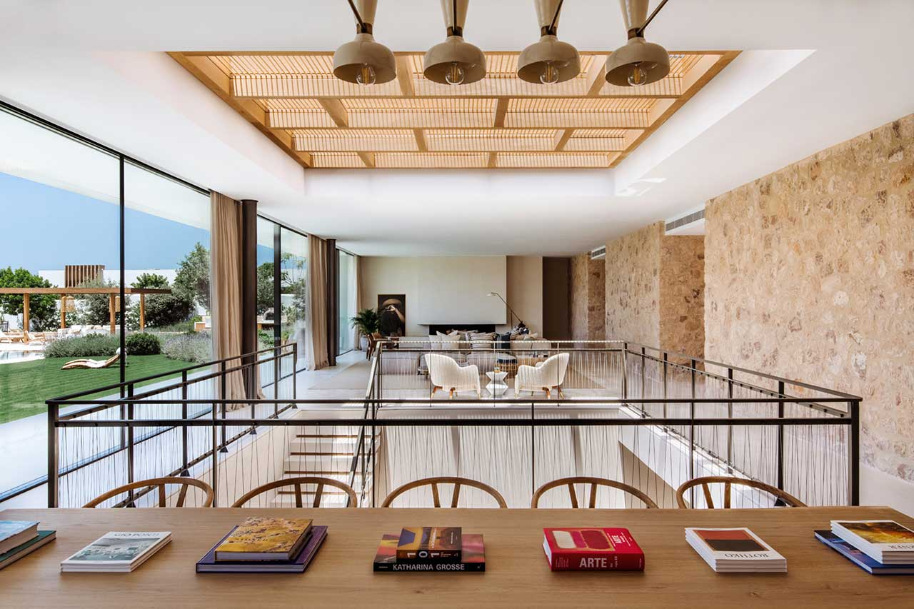 interior view of modern house with dining room and living room
