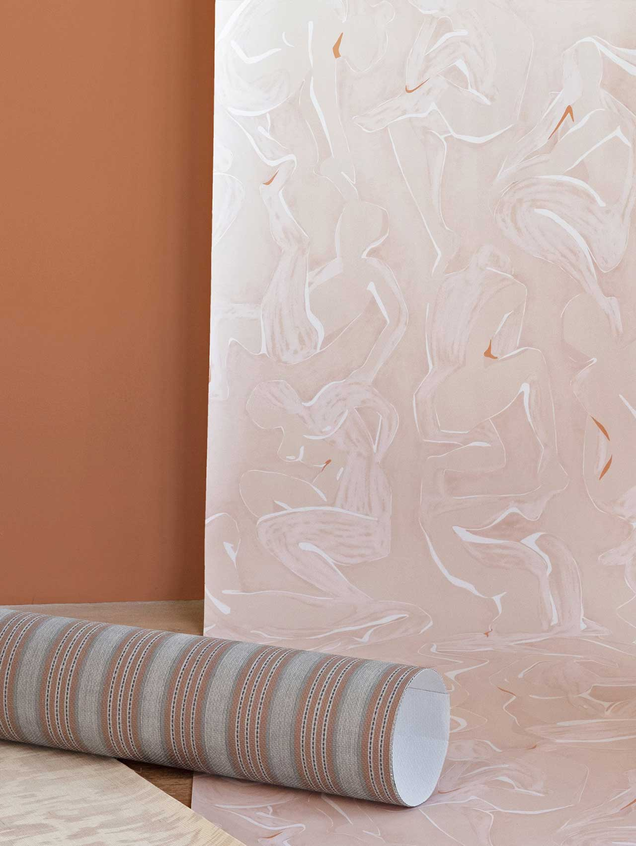 wallpaper sample of pink abstract wallpaper hanging on wall