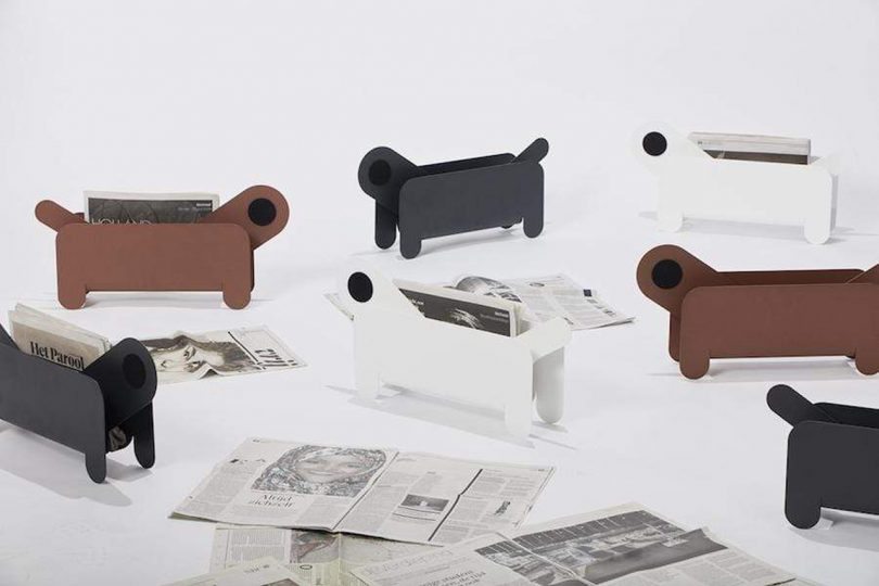 group of magazine and paper holders resembling dogs