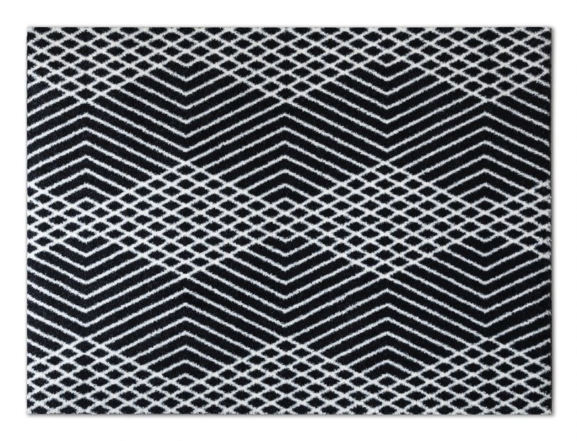 black and white patterned door mat detail