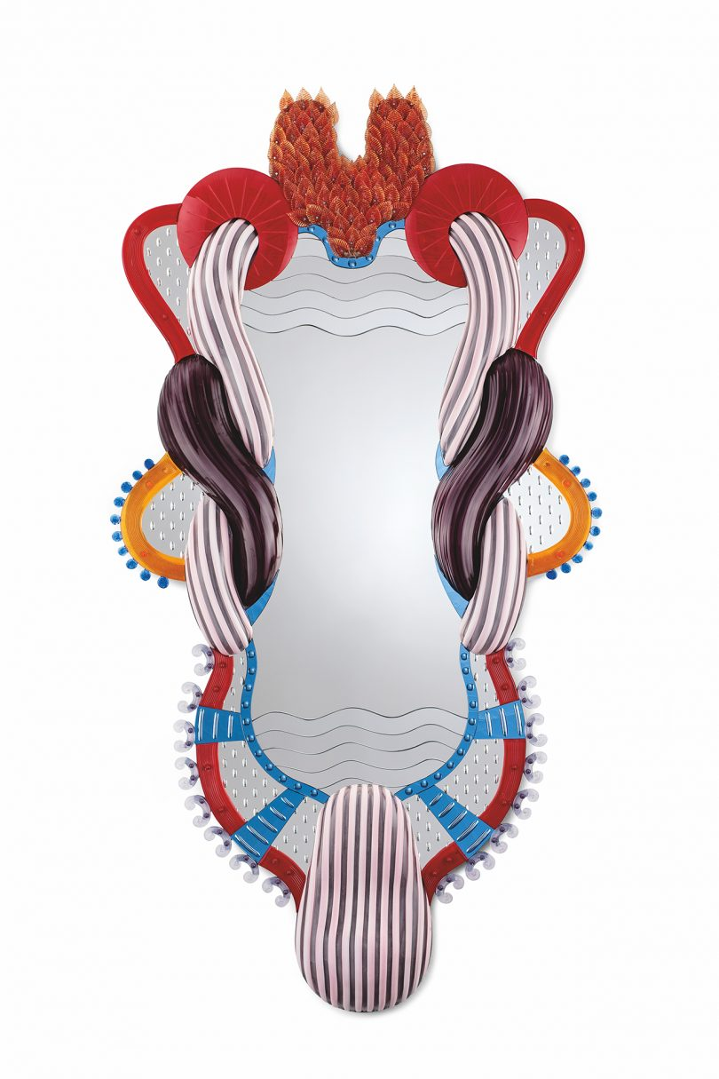 multicolored wall mirror with intricate frame design