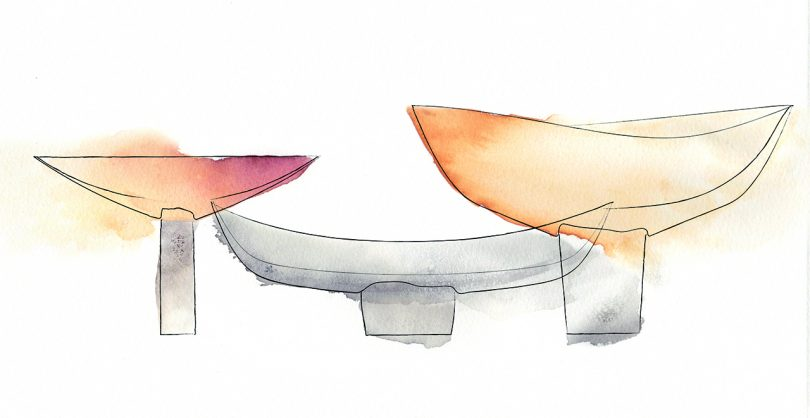 sketch of three colored bowls/vessels
