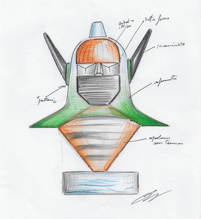 color sketch of glass sculpture