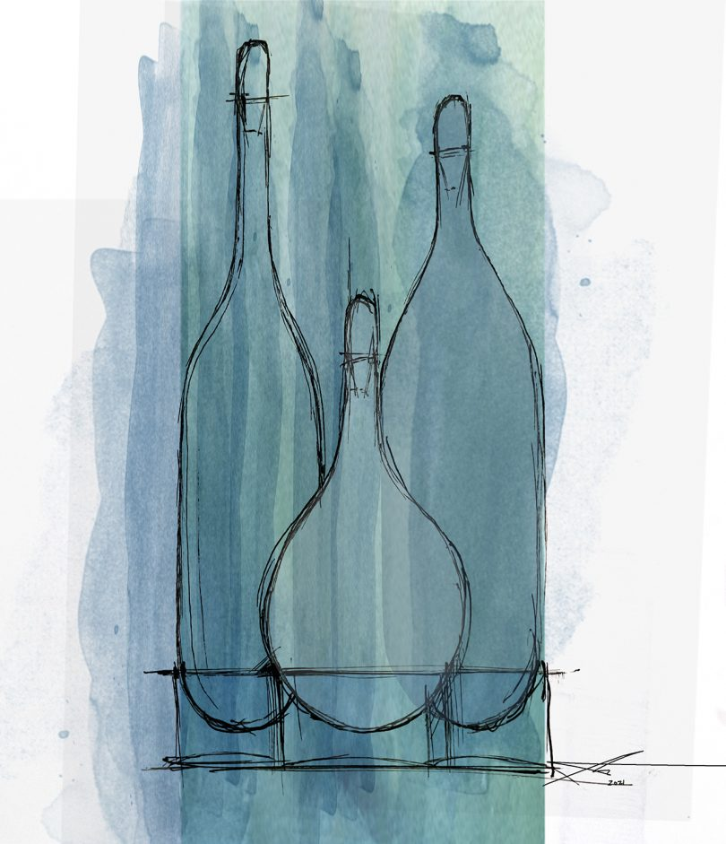 blue and grey sketch of three tall vessels