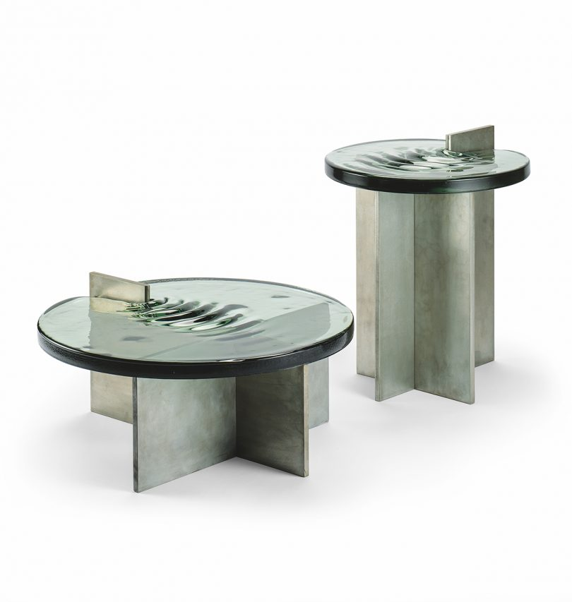 grey coffee table and grey side table on white background