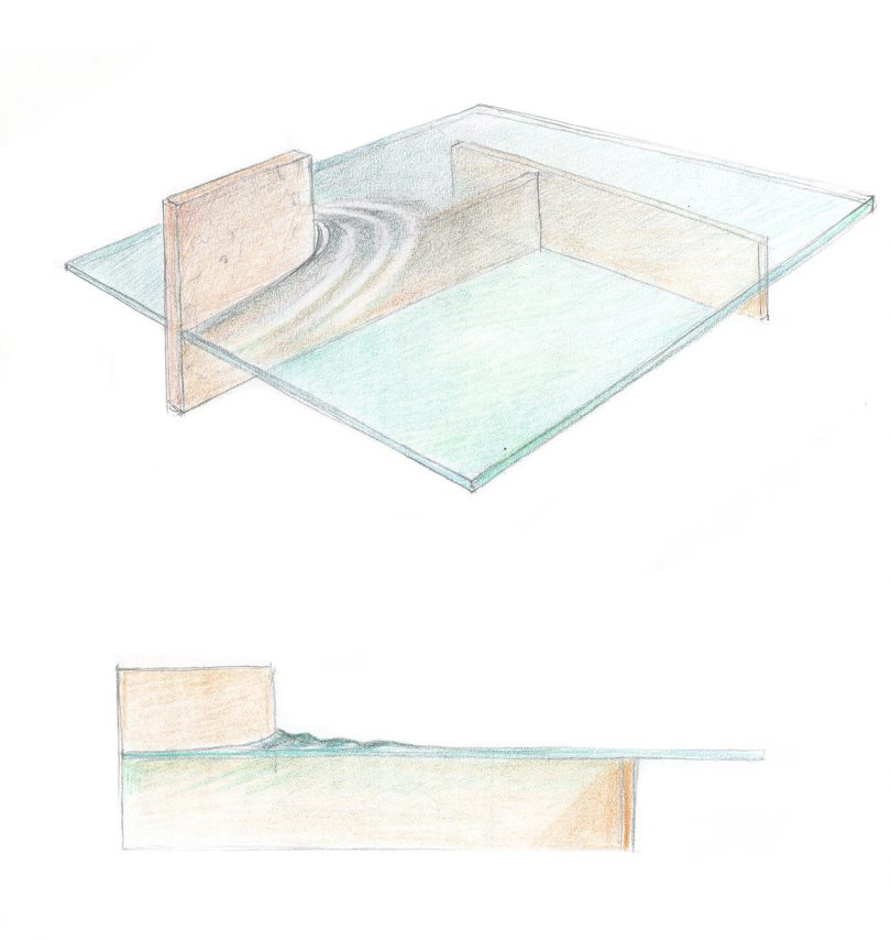 color sketch of glass table design
