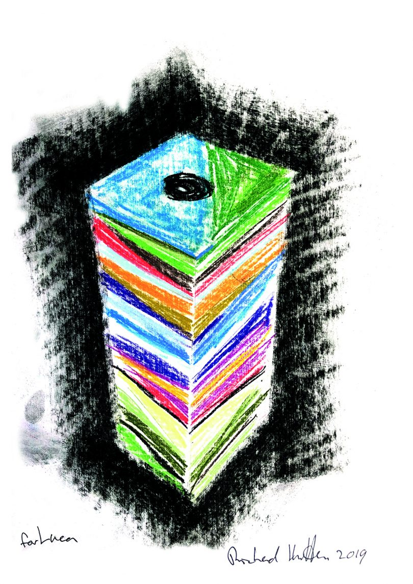 sketch of a tower-like sculpture with striated banks of color