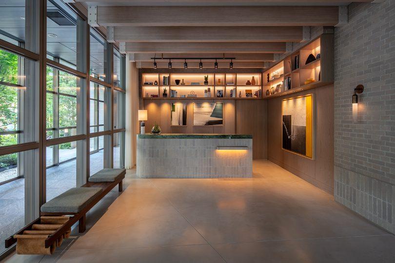 bar/reception area in tones of grey