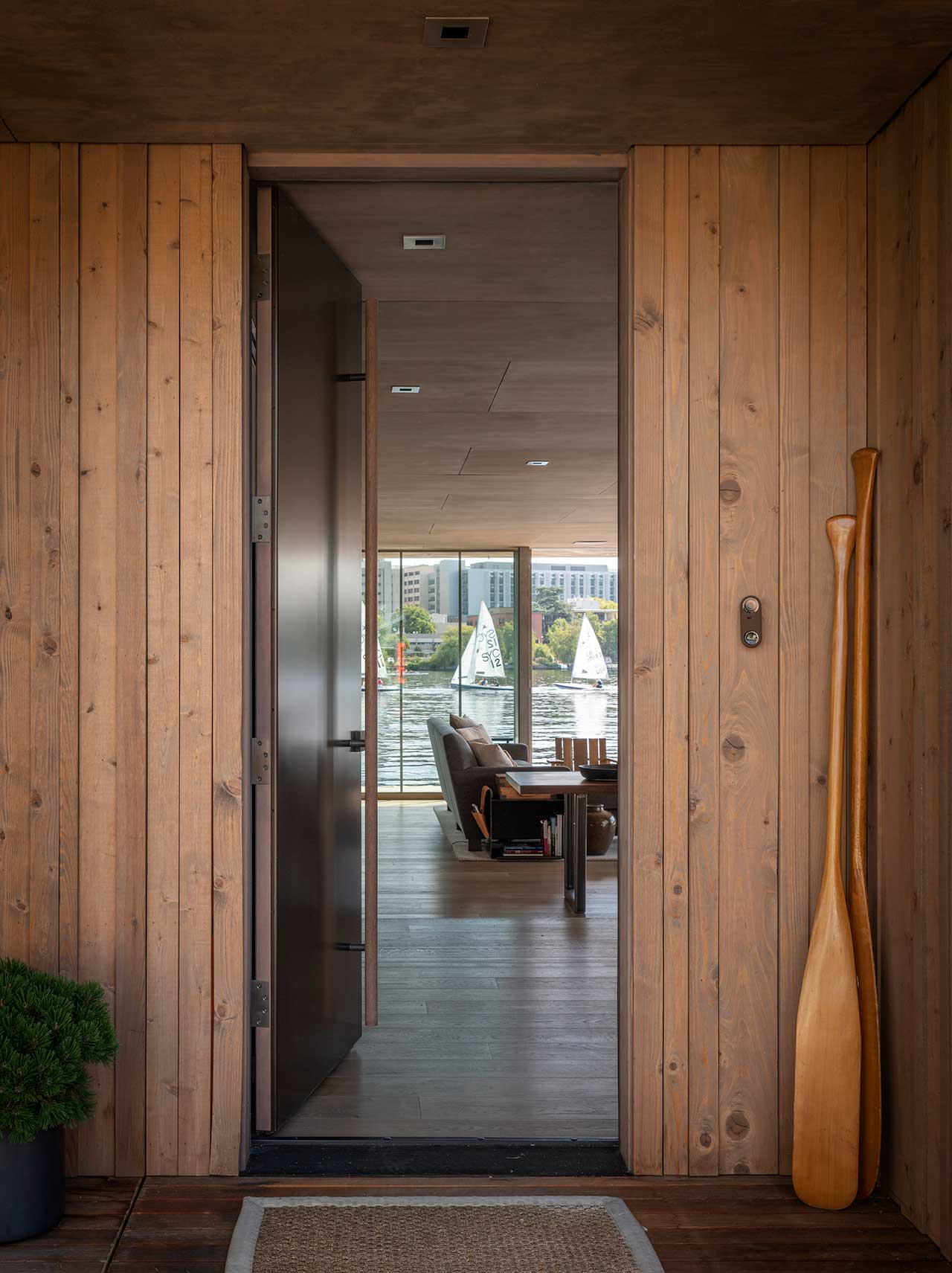 entryway with front door leading into floating house