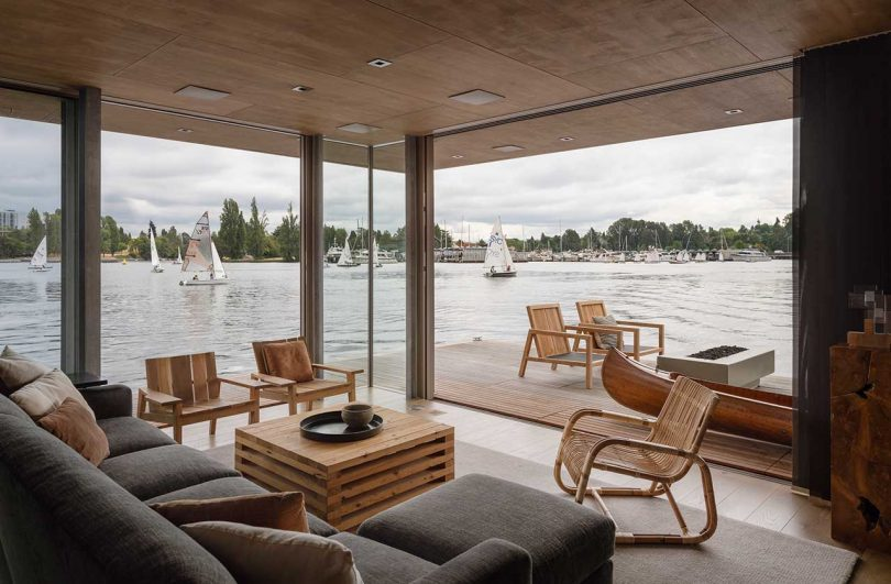 modern interior of floating cabin on water
