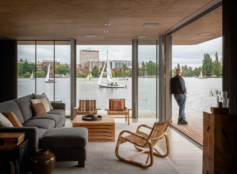 modern living room of floating cabin on water