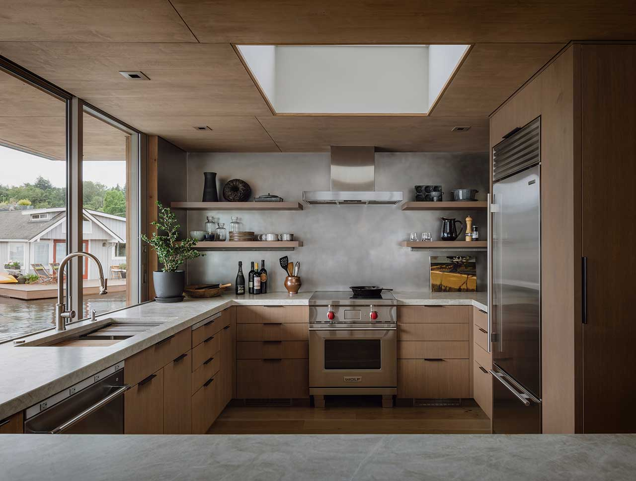 modern kitchen in floating house