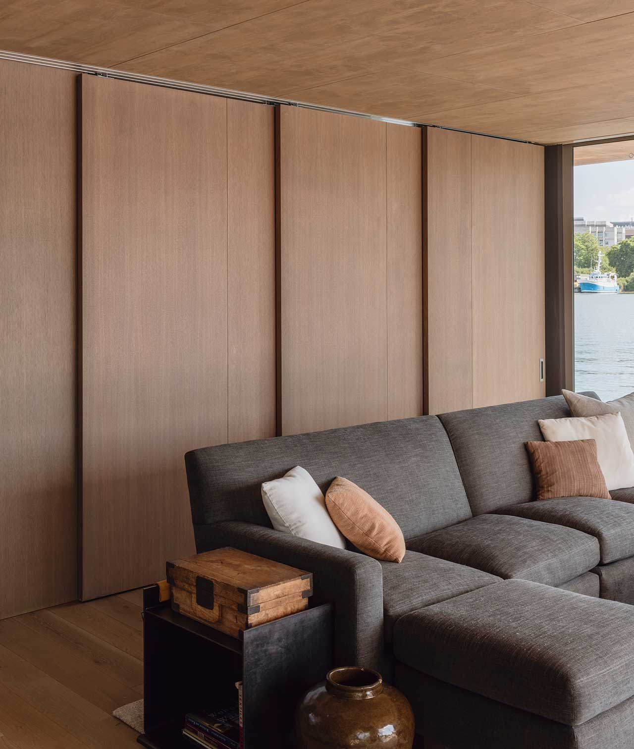modern living room with closed panel wall