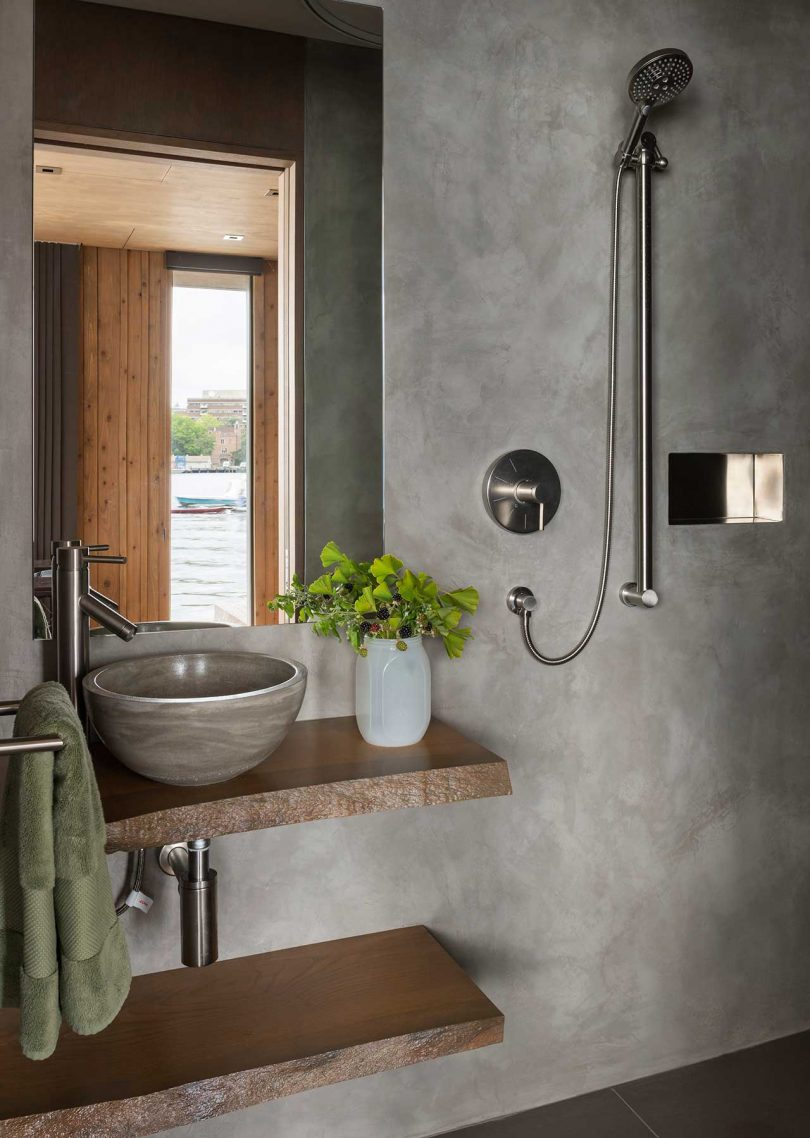 small bathroom with concrete walls
